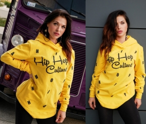 SWEATSHIRT FOR GIRLS WITH HOOD YELLOW HIP HOP CULTURE