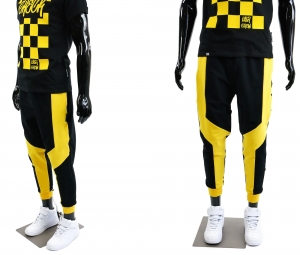 MEN'S SWEATPANTS JOGGERS ZIGZAG BLACK YELLOW